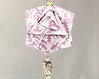 Light Purple and White Patterned Handmade Origami Christmas/Holiday Ornament with Purple Owl Bead