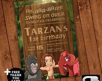 Tarzan Invitation - Tarzan Invite - Tarzan Birthday Invitation - Tarzan Birthday Party - Digital File Download