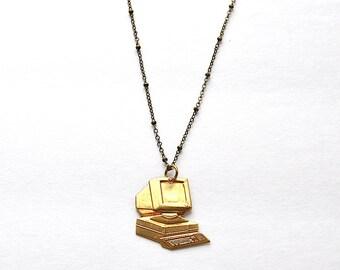 Handmade Brass Computer Necklace, Brass Necklace, Computer Necklace, Nerd