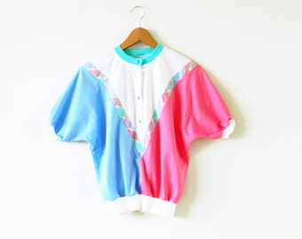 Vintage Rainbow Colorblock Top / 80s Dolman Sleeve Blouse / Rad Colorful Candy Blouse