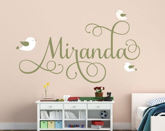 Personalized Name Decal With Birds Nursery Decor - Bird Decal Kids Room Decor Vinyl Wall Decal