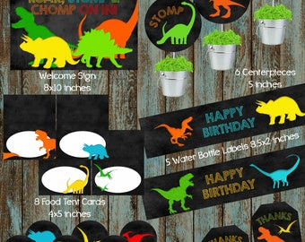 Dinosaurs Printable Party Package, Dinosaur Centerpieces, Dinosaur Favor tags, Dinosaur Water Labels, Dinosaur Tags, Dinosaur Welcome Sign