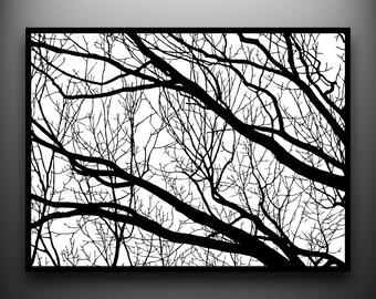 Branches 02:18 x 24 Art de papier taillés à la main, encadré et one-of-a-kind