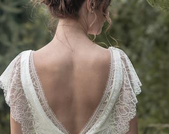 Marie -> Hochzeitskleid in Krepp und französischer Spitze. Romantisches Brautkleid. Böhmische, Vintage inspiriert. Boho Braut. Klassische, zeitlose Kleid