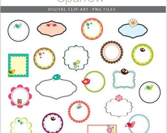 Birdie Frames - Design elements - Digital clip art - PNG files - Perfect for invitations, cards, notices, scrapbooking and more.