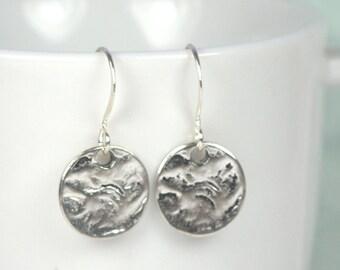 Hammered Silver Dangle Earrings, Hammered Silver Earrings, Small Drop Earrings, Small Hammered Silver Earrings #104