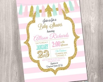 Pink mint gold baby shower invitation girl, baby sprinkle invite, pink and white stripes, gold glitter, digital, Printable Invitation