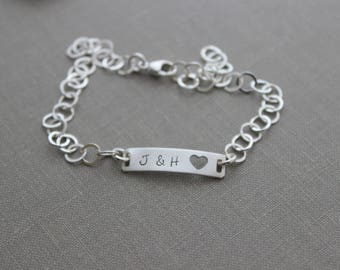 Sterling silver ID bracelet - Choice of initials, name or date -  Hand stamped personalized jewelry  - bar bracelet with heart cut out