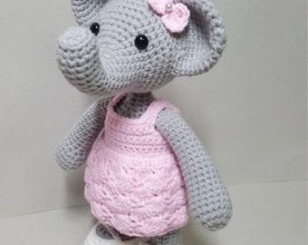 crochet pattern amigurumi Miss Elephant