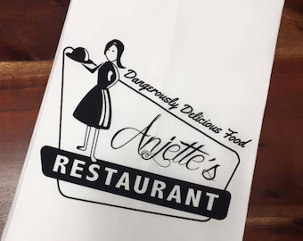 Vintage Anjette's Restaurant Cotton Flour Sack Towel