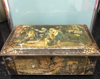 Old tin storage box