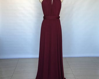 Halter Burgundy Spandex Long Convertible Bridesmaid Dress