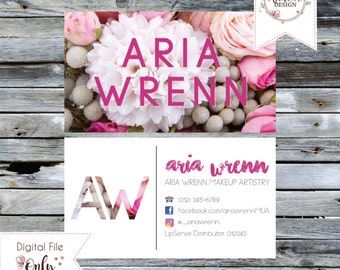 """Floral Print Business Card // 3.5""""x2"""" // Double Sided // Personalized Digital Files"""