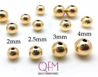 100 pcs Gold Filled Beads - Gold Filled Seamless Round Spacer Beads 2mm, 2.5mm, 3mm, 4mm  - GF beads - Yellow gold filled beads