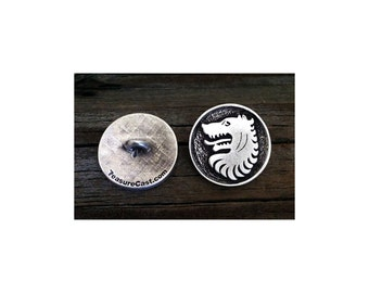 TC107.1410P - Medieval Wolf Pewter Shank Button 1 Inch (25 mm)