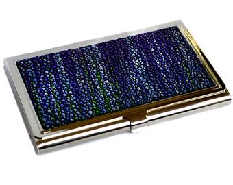 Metallic Blue Streaked Stingray Leather Business Card Case