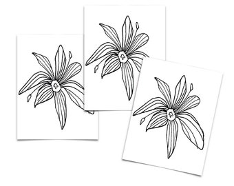 Tattoo Moments Line Art Flower Hand Drawn Temporary Tattoo for Wrist, Ankle or Forearm (3 prints)