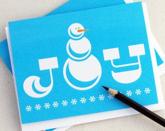 Joyful Snowman Christmas Card Set - Holiday Greeting Cards Set of 10 by Oh Geez Design