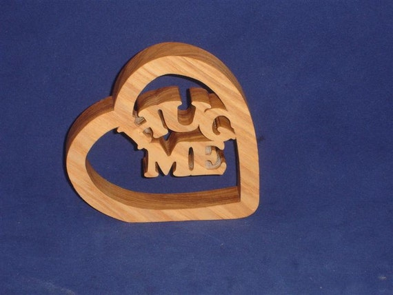 Valentines Heart Decor With Words Hug Me Handcrafted from Ash Wood