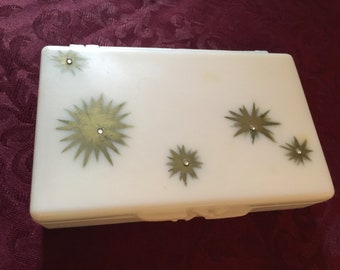 Vintage Mid Century Kitsch Twinkle Star Purse Size Tissue Holder with Mirror Hong Kong