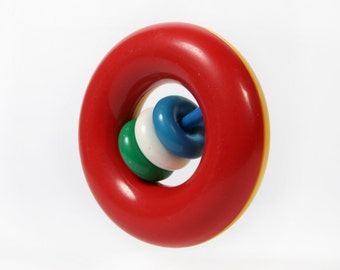 Vintage baby toys-Ring with beads