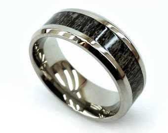 Titanium Ring, Antler Inlay, Perfect Gift, Men's Gift, Handmade Ring, Chamfered Titanium, American Art, Used for Good, 8 mm Ring