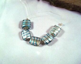 Square Baroque Topaz Blue Stripe Foil Beads