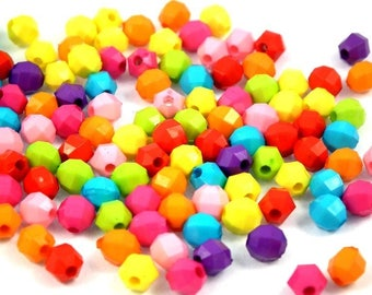 x 100 MIX beads acrylic faceted 6mm