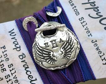 Personalized Bracelet, Handmade Personalized Jewelry, Monogram Bracelet, Personalized Silk Wrap Bracelet, Personalized Monogram Bracelet