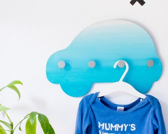 Turquoise Ombre Wall Hook Board / Car Shaped / Wall Mounted Playful Nursery Decor / Modern Coat Rack for Kids Room / Unique Gift for Boy