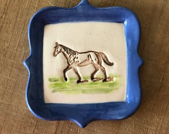 Horse Dish, Equestrian, Horse Ring Dish, Horse Spoon rest, Soap Dish, Horse Back Rider, Horse Gift, Equestrian Ring Dish, Wedding Ring Dish