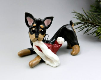 Min Pin Doberman Pinscher Christmas Ornament Figurine  Santa Hat Porcelain Clearance