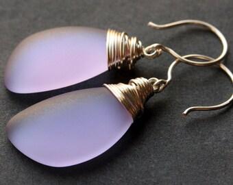 Lavender Seaglass Earrings. Lavender Earrings. Lavender Sea Glass Earrings. Wire Wrapped Wing Earrings. Handmade Jewelry.