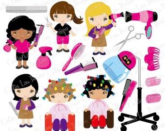 Cute Girls Hair Dresser clipart, Woman hair stylist, salon hair dresser clip art , Career clipart / INSTANT DOWNLOAD (CG187)