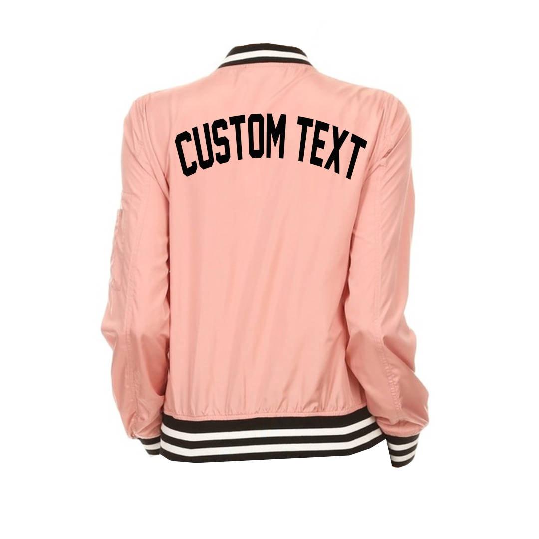 WOMENS CUSTOM Pink Varsity Bomber Jacket Long Sleeve Zip Up