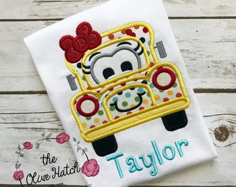 Back to School Bus Shirt Applique Embroidery