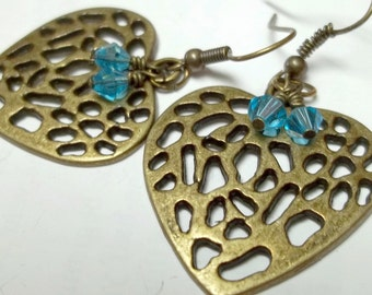 Antiqued brass heart earrings,glass turquoise beads,brass heart earrings,turquoise bead,heart earrings,heart,brass hearts,