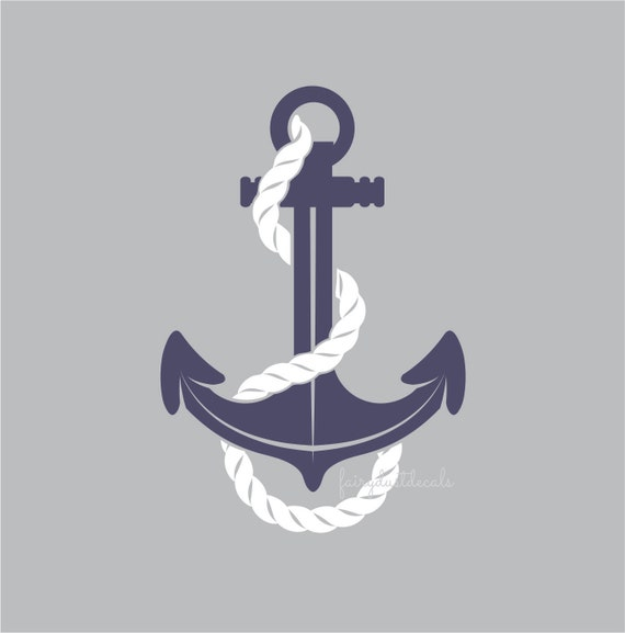Anchor decal nautical anchor with rope wall decal computer cut