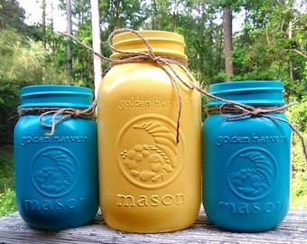 Yellow Mason jar, set of 3, Mason jar vase, quart mason jars, blue mason jar, pastel mason jars, golden harvest jar, mustard yellow decor,