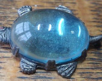 Sterling Baby Blue Jelly Belly Turtle Brooch