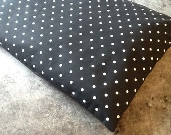 Medium (95cm x 68cm) Deep Filled Pillow Dog Bed with 100% Cotton Black with White Spotty Fabric