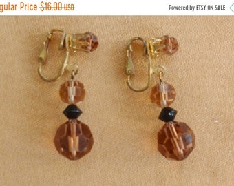 On sale Pretty Vintage Smokey Topaz, Black Crystal Dangle Clip Earrings, Gold tone