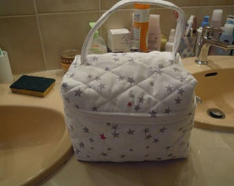 vanity or toilet bag in quilted cotton