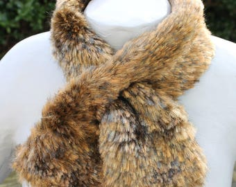 Synthetic mink Brown cross scarf