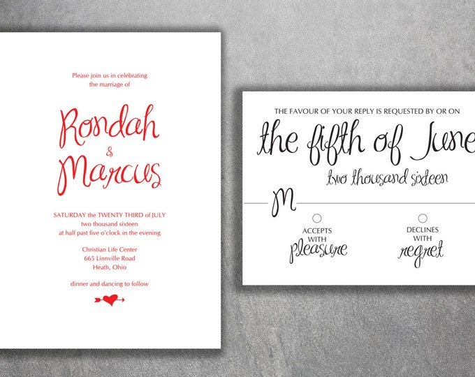 Black and White Wedding Invitation Set Printed - Simple Wedding Invitation, Classic, Modern