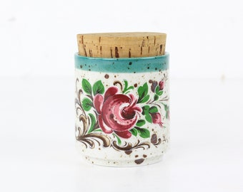 Floral painted ceramic can with cork Midcentury modern design antique ceramics