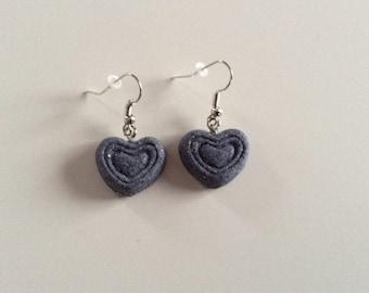 Granite gray heart earrings