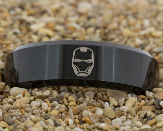 8mm Black Beveled Tungsten Carbide Band Iron Man Design