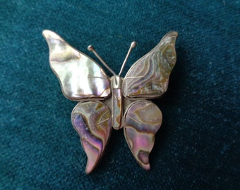 Vintage abalone  and silver butterfly brooch