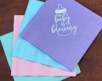 A Baby is Brewing Baby Shower Cocktail Napkins, Coed Baby Shower, Jack and Jill Baby Shower Decorations, Baby Shower Ideas -SHIPPING by 5/1